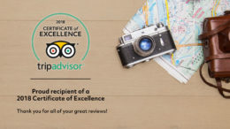 We Did It Again! Trip Advisor Certificate of Excellence for 2018